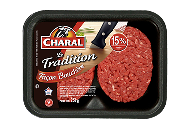 Steak Haché Tradition Façon Bouchère Pur Bœuf 15% - Nos hachés à griller - charal.fr