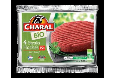 4 Steaks Hachés Bio Pur Bœuf 15% - Nos bios - charal.fr